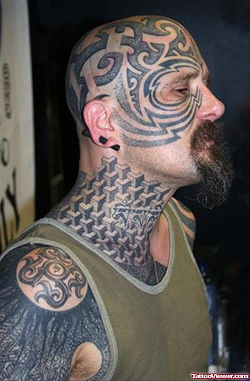 Men Show Tribal And Pattern Extreme Tattoo