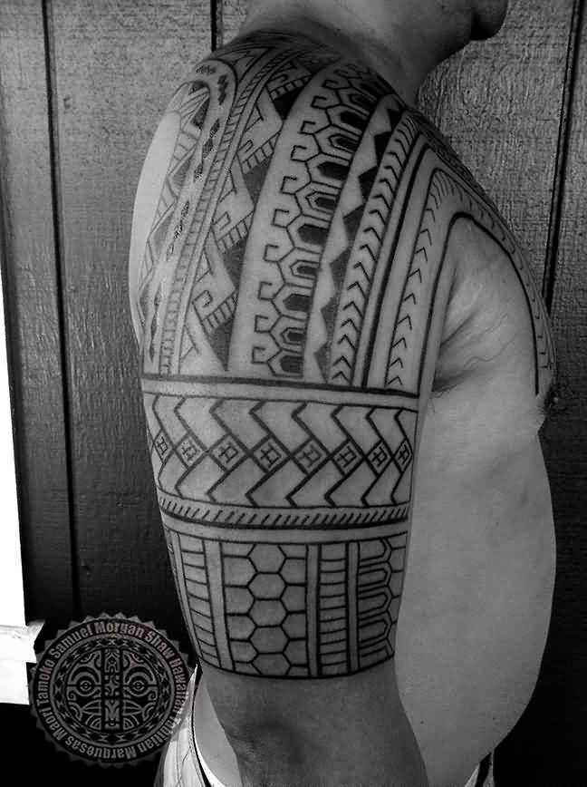 Men Show Tribal Filipino Tattoo Idea On Half Sleeve
