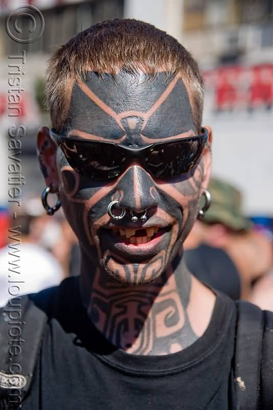 Men Show Weird Look Full Face Extreme Tattoo