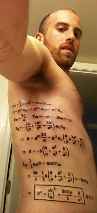 Men Showing Her Amazing Physics Equation Tattoo On Side Rib