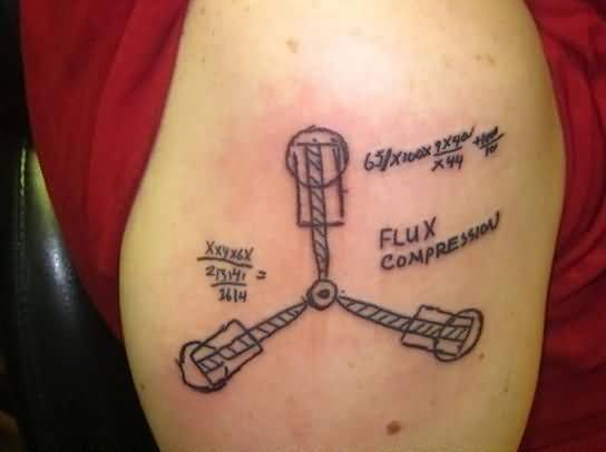 Men Showing Her Nice Physics Tattoo On Right Shoulder