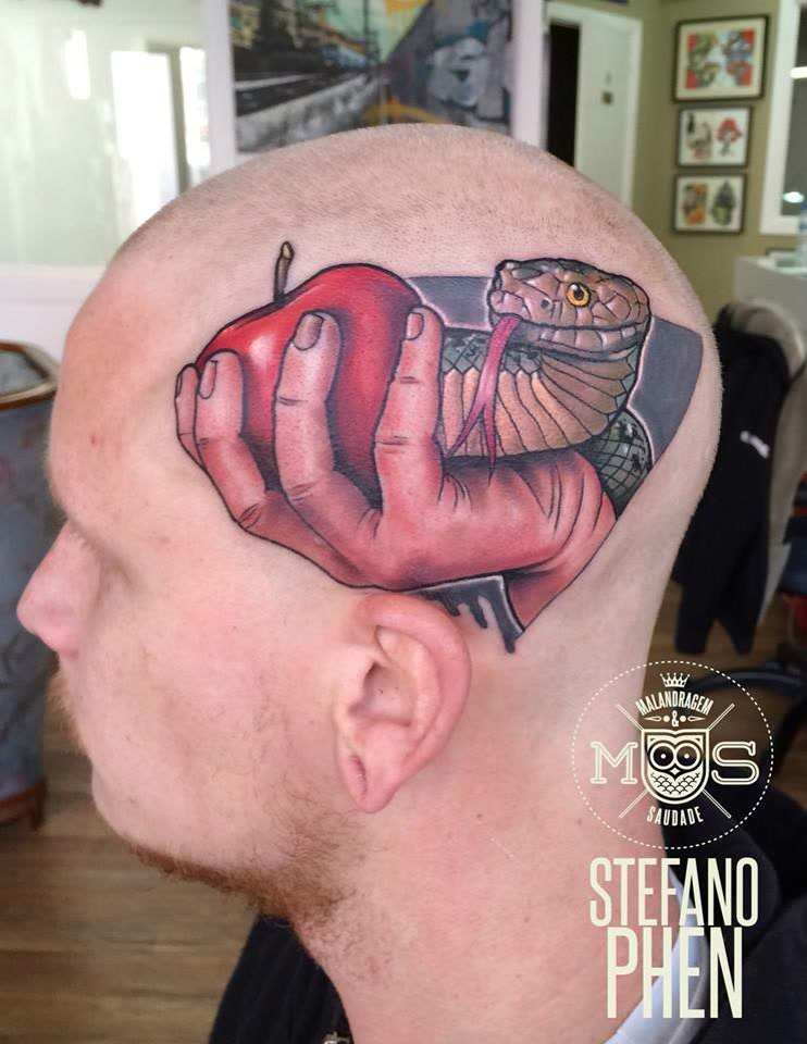 Men Side HEad Hand Apple With Reptile Snake Tattoo