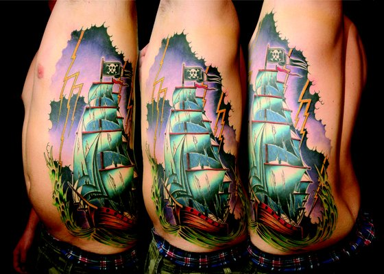 Men Side Rib Amazing Jolly Roger Pirate Ship Tattoo Idea