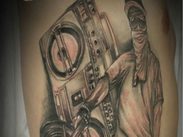 Men Side Rib Gangsta Men And Music Player Tattoo