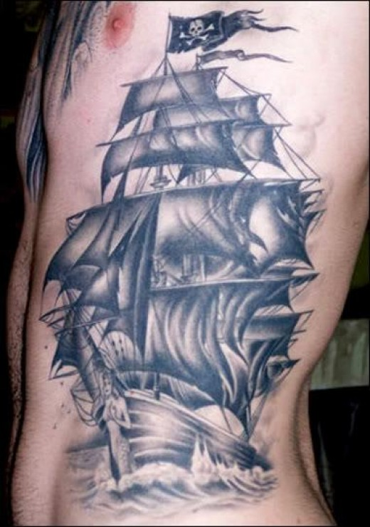 Men Side Rib Grey Ink Jolly Roger Pirate Ship Tattoo