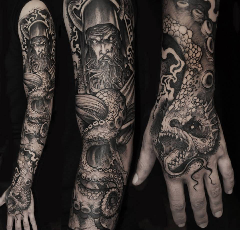 Men Sleeve And Hand Monster Sea Creature Tattoo