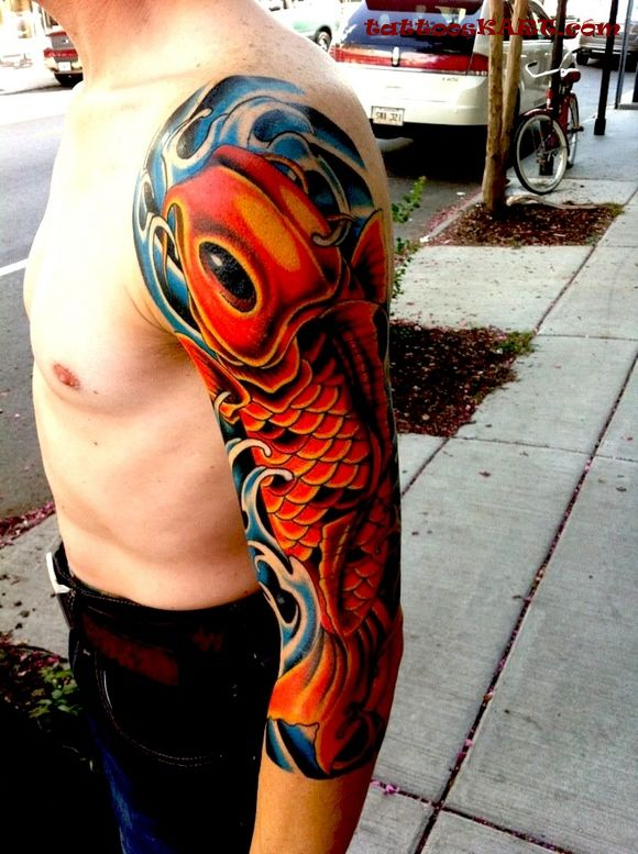 Men Sleeve Awesome Sea Creature Fish Tattoo
