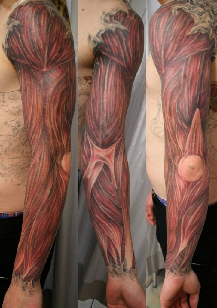 Men Sleeve Design With Amazing Muscles Tattoo Painting