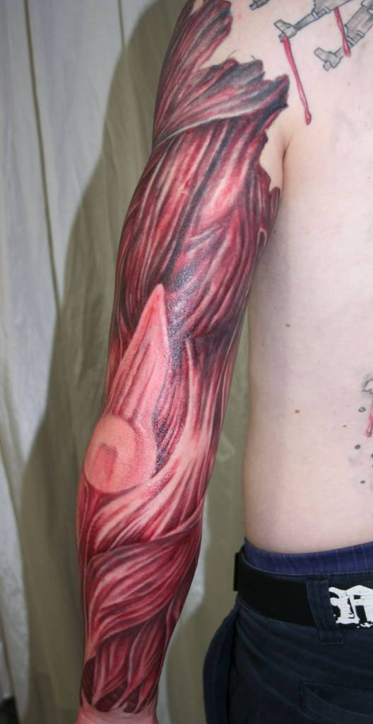 Men Sleeve Design With Amazing Muscles Tattoo