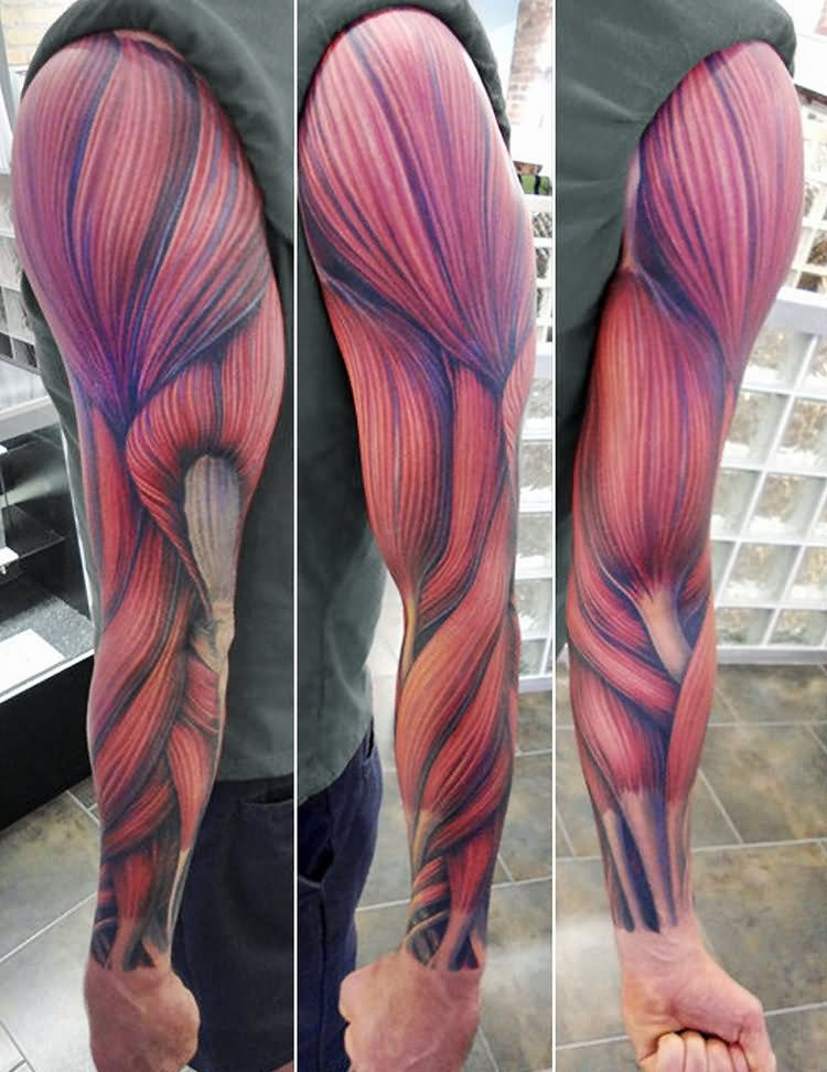 Men Sleeve Design With Muscles Tattoo