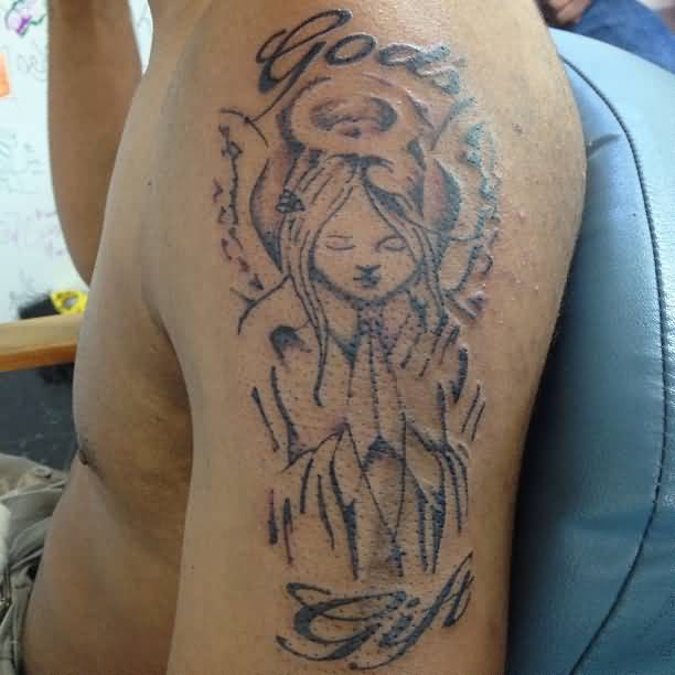 Men Sleeve God Gift Praying Angel Girl Tattoo