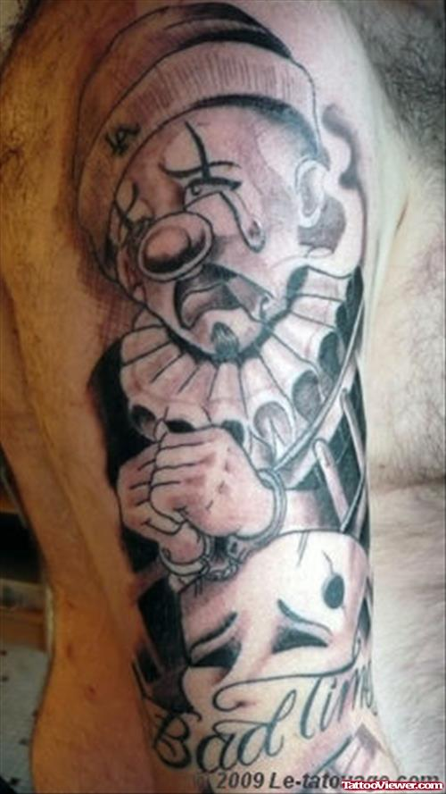 Men Sleeve Nice Clown Gangsta Sad Tattoo