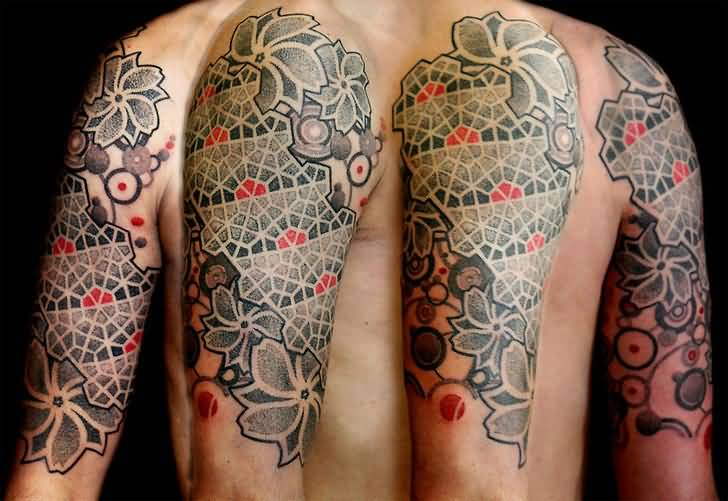 Men Sleeve Nice Escher Flowers Tattoo Design