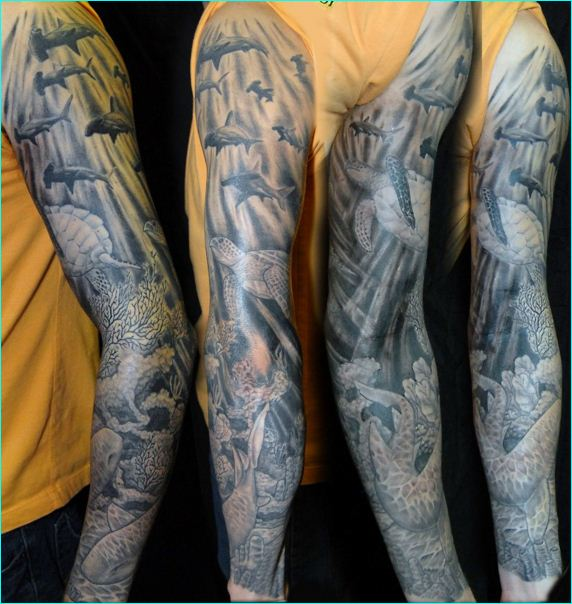 Men Sleeve Nice Fishes And Turtle Tattoo