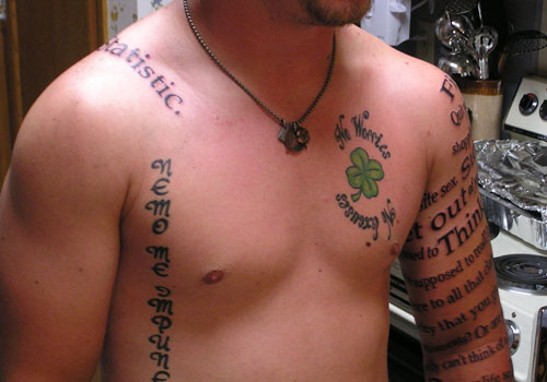Men Sleeve Nice Literary With Nice Chest Shamrock Tattoo