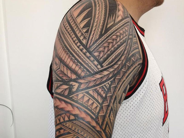 Men Sleeve Side Simple Samoan Tattoo