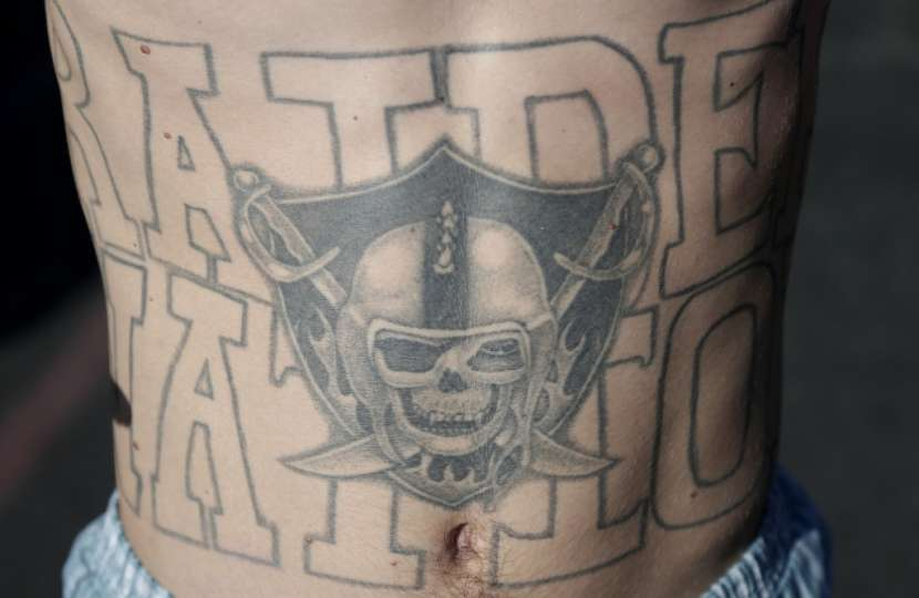 Men Stomach Grey Ink Oakland Raiders Skull Tattoo