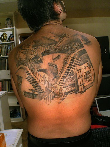 Men Upper Back Amazing Escher Stairs Tattoo