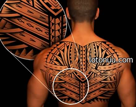 Men Upper Back Black Ink Samoan Tattoo