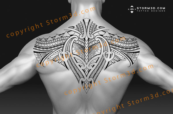 Men Upper Back Nice And Simple Samoan Tattoo