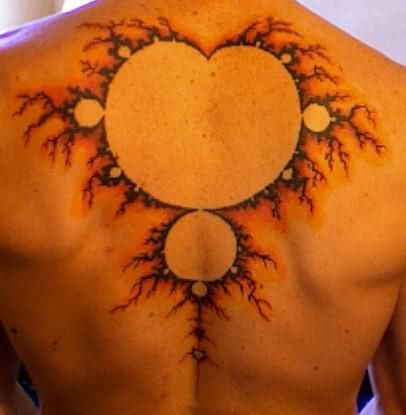 Men Upper Back Nice Mandelbrot Tattoo