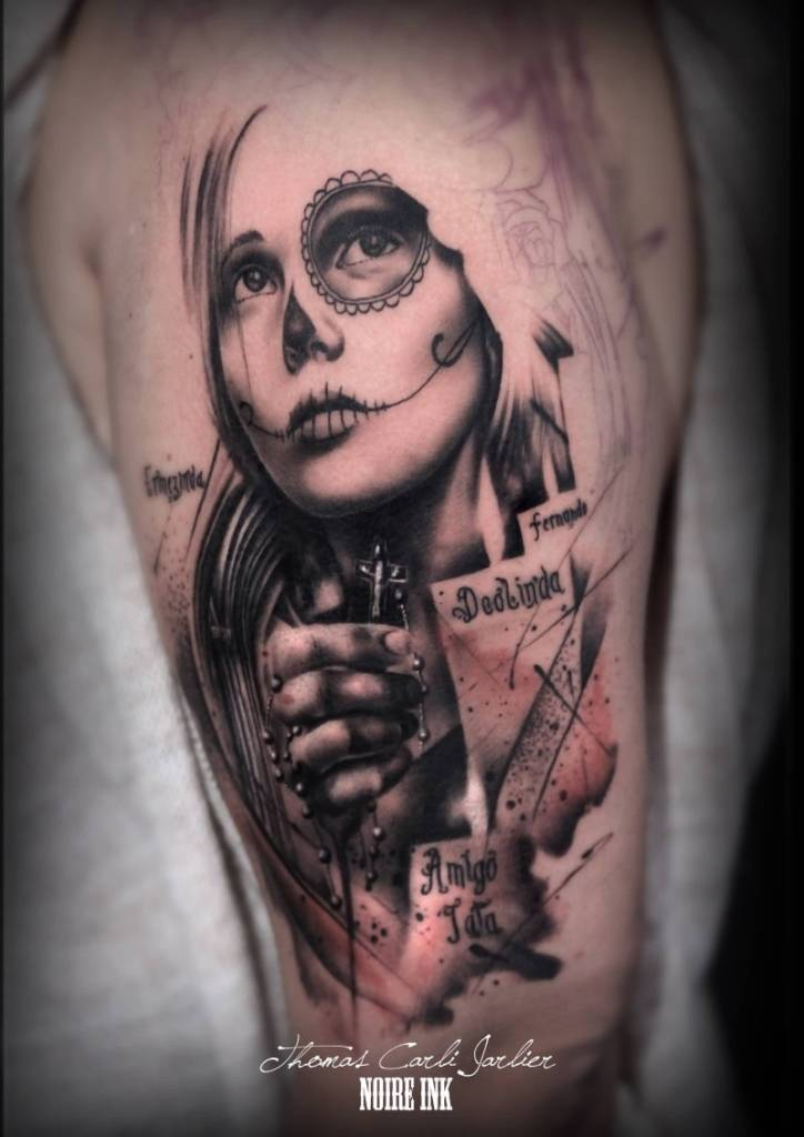 Men Upper Sleeve Amazing And Nice Catrina Tattoo
