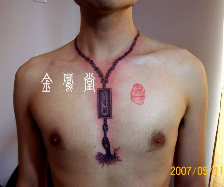 Men With Chain Necklace Tattoo