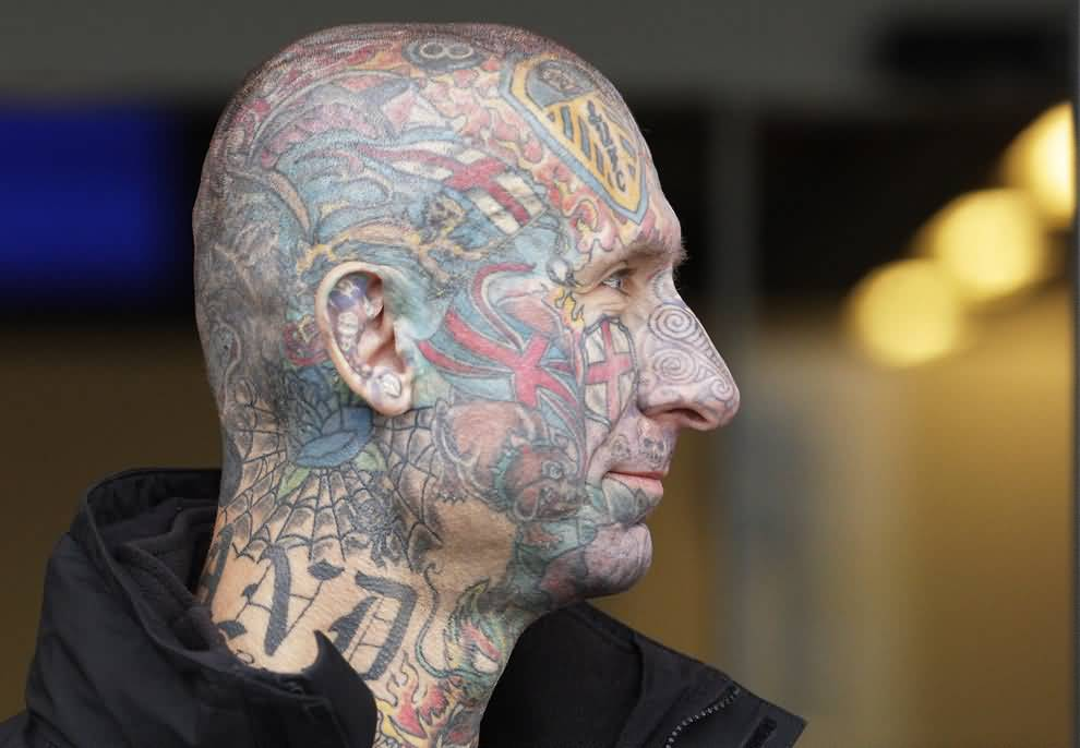 Men side Head Amazing And Simple Colored Extreme Tattoo