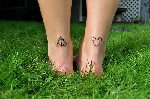 Mickey Face And Hallows Tattoo On Ankle Back