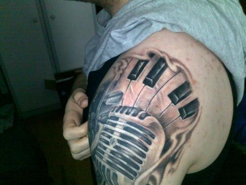 Microphone 3D Piano Keys Grey Tattoo On Shoulder