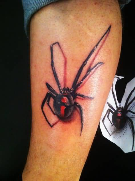 Mind Blowing 3D Black Widow Tattoo Design