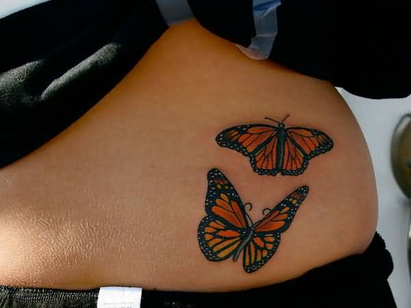 Mind Blowing Monarch Butterfly Tattoo On Girl Hip