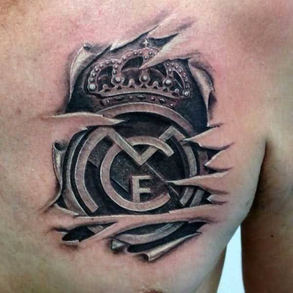 Mind Blowing Real Madrid Logo Tattoo Design On Ripped Skin Chest