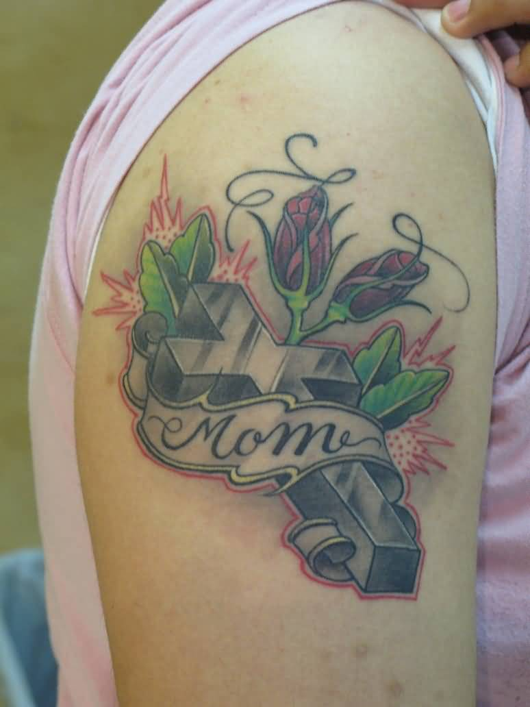 Mom Banner Amazing Cross Love Heart Tattoo