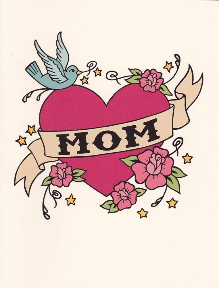 Mom Banner Love Heart With Swallow With Flowers Tattoo Sketch