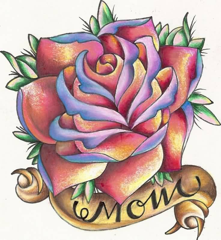 Mom Banner Lovely Rose Flower Tattoo Design Idea