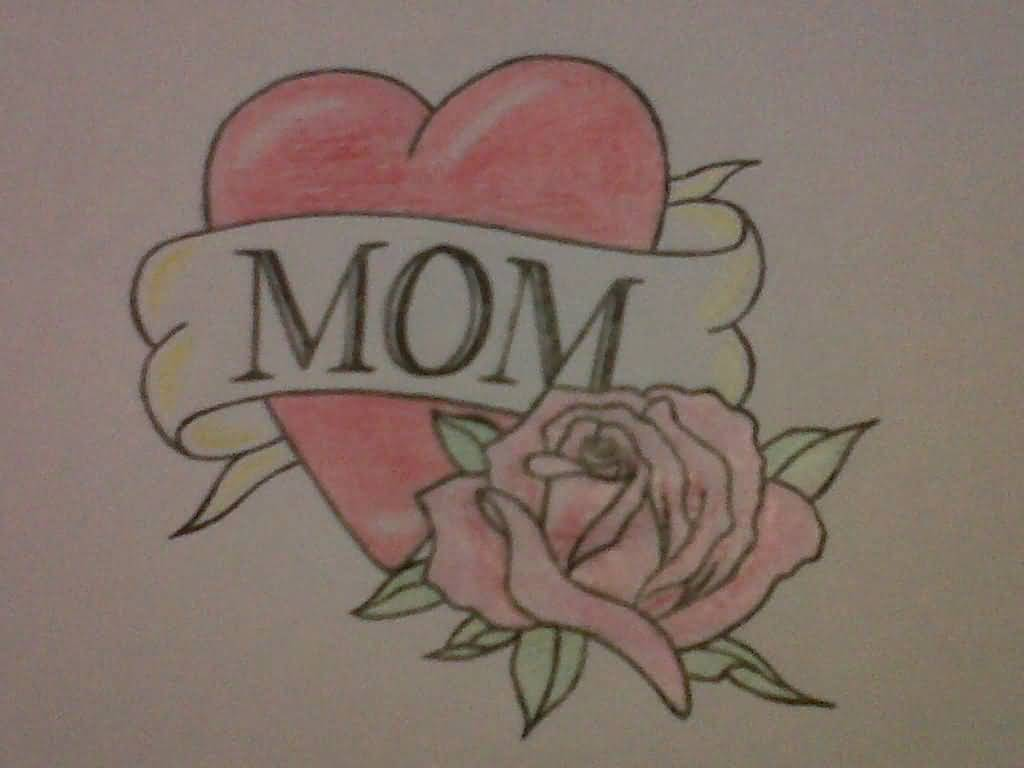 Mom Banner Nice Heart Rose Flower Tattoo