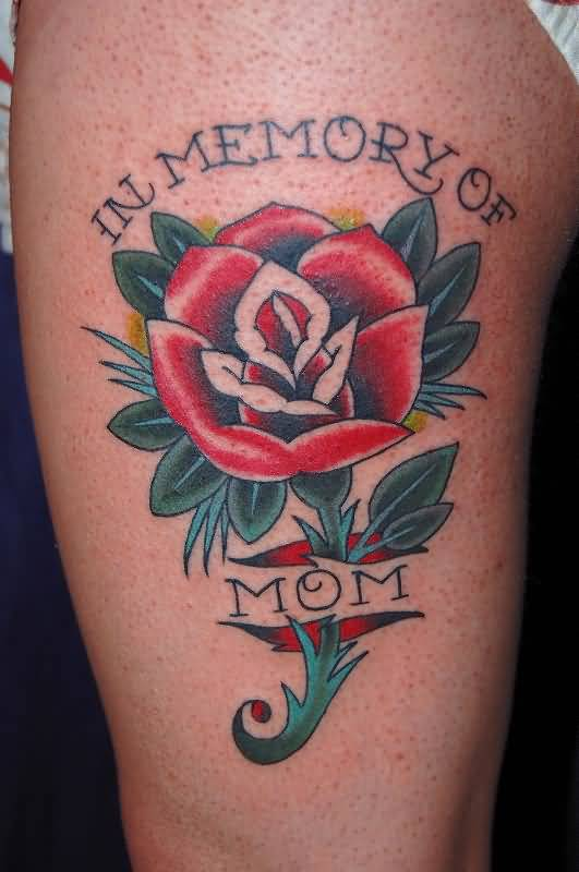 Mom Banner Rip Skin Rose Flower Tattoo