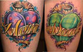 Mom Dad Banner Amazing Heart Tattoo