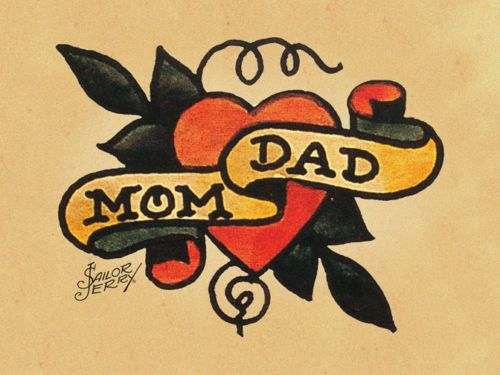 Mom Dad Banner Nice Heart Tattoo Sketch