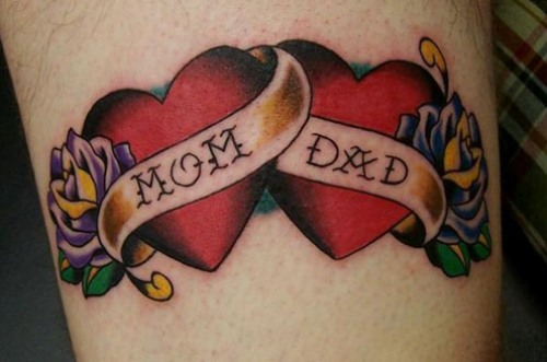 Mom Dad Love Banner Flower Tattoo