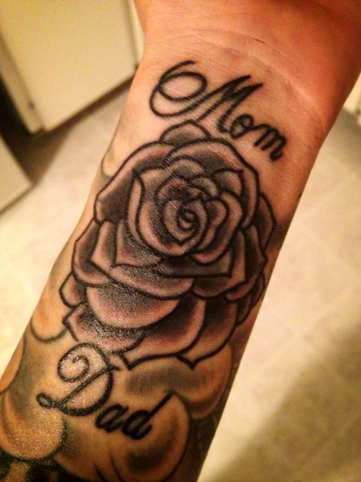 Mom Dad Text Rose Flower Tattoo Design
