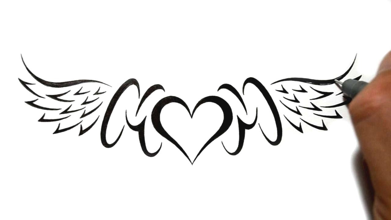 Mom Heart Wings Nice Love Heart Tattoo