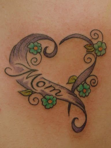 Mom Text Lovely Love Heart With Flowers Tattoo