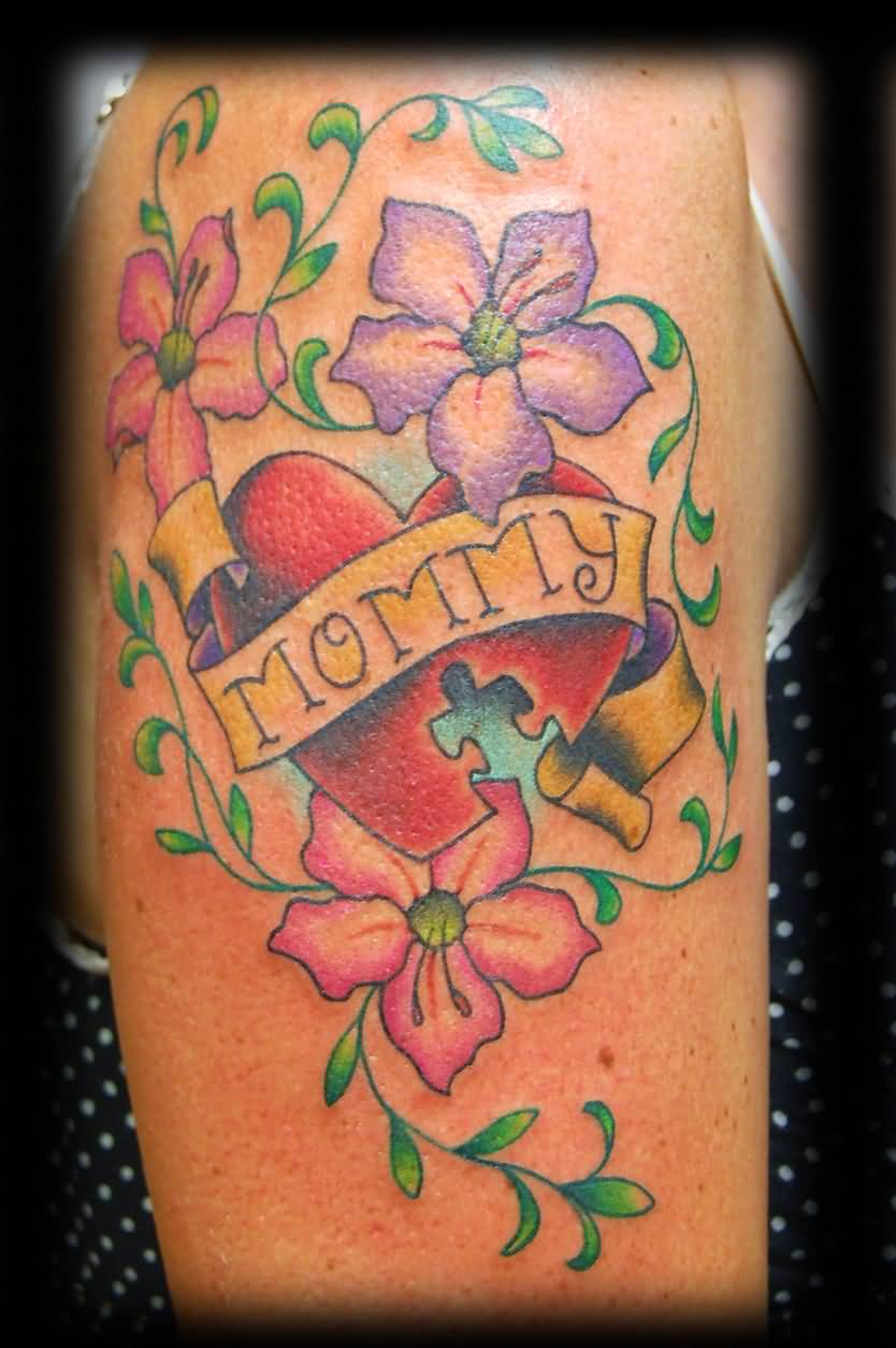 Mommy Banner Nice Heart Flower Tattoo On Upper Sleeve