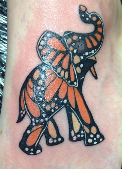 Monarch Butterfly Style Elephant Tattoo Design