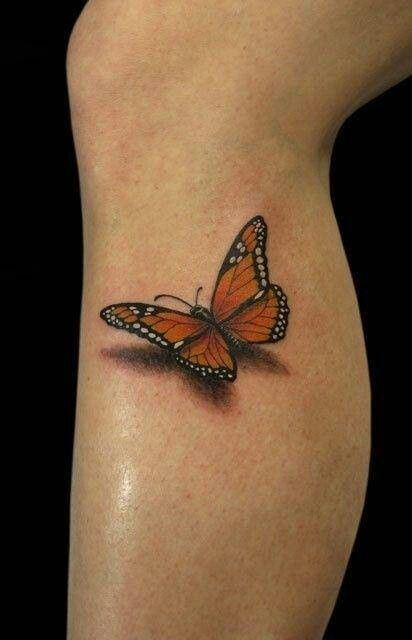 Monarch Butterfly With Shadow Tattoo Design For Girl Leg