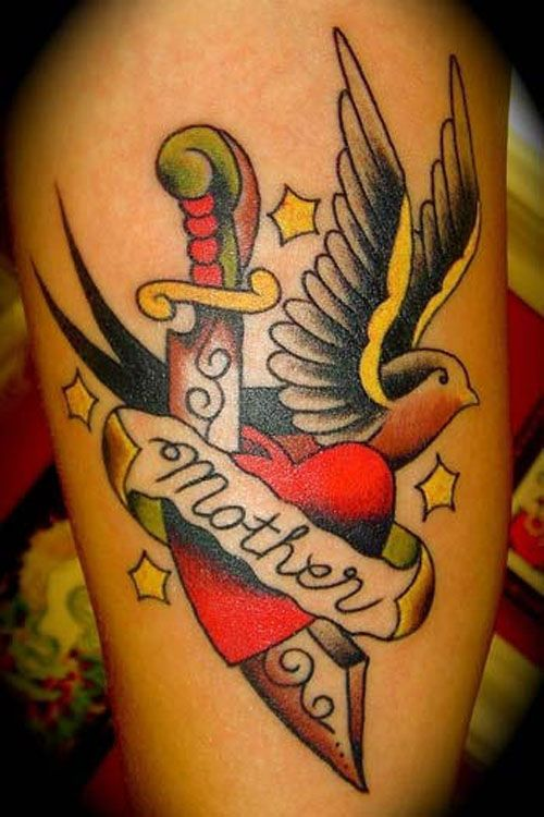 Mother Banner Dagger In Love Heart With Flying Swallow Bird Tattoo