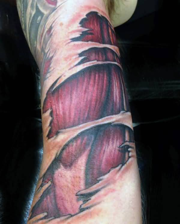 Muscles Tattoo- Ripped Skin Awesome And Amazing Muscles Tattoo