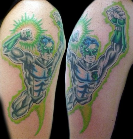 Muscular Flyiung Attacking Lantern Tattoo